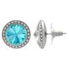 Crystalized with Swarovski Stud Earrings for Dance Aquamarine/Crystal 17mm