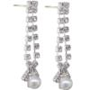 "1 1/2"" Pearl Accent Rhinestone Dangle Earring"