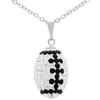 "Game Time Bling Mini Football Necklace - 18"" - Crystal/Jet"