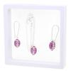 Game Time Bling Mini Football Necklace & Earring Gift Set - Fuchsia/Crystal