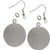 Flat Circle Pendant/Earrings, Silver Overlay