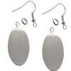 Flat Oval Pendant/Earrings, Silver Overlay
