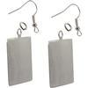 Flat Rectangle Pendant/Earrings, Silver Overlay
