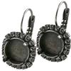 12mm Rivoli Leverback Earring with Crystal Rhinestones for Swarovski 1122 Antique Silver