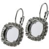 12mm Rivoli Leverback Earring with Crystal Rhinestones for Swarovski 1122 Shiny Silver