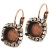 12mm Rivoli Leverback Earring with Crystal Rhinestones for Swarovski 1122 Antique Brass
