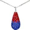 "Game Time Bling 11x22mm Teardrop Necklace - 18"" - Sapphire/Light Siam"