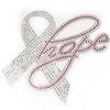 Pink Hope Awareness Support Rhinestone Iron On Transfer