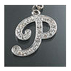 "Rhinestone Initial Key Chain ""P"""
