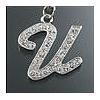 """Rhinestone Initial Key Chain """"U"""""""