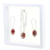 Game Time Bling Mini Football Necklace & Earring Gift Set - Light Siam/Black Diamond
