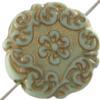 Mediterranean Bead Coin 22 mm Gold Pistachio