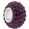 Large Hole Pave Bead with 7 mm wide Sterling Silver Core, Alora Crystals Amethyst 12 mm