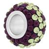 Large Hole Pave Bead with 7 mm wide Sterling Silver Core, Alora Crystals Amethyst/Jonquil 12 mm