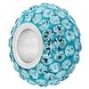 Large Hole Pave Bead with 7 mm wide Sterling Silver Core, Alora Crystals Aquamarine 12 mm