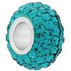 Large Hole Pave Bead with 7 mm wide Sterling Silver Core, Alora Crystals Blue Zircon 12 mm