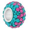 Large Hole Pave Bead with 7 mm wide Sterling Silver Core, Alora Crystals Blue Zircon/Rose 12 mm