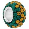 Large Hole Pave Bead with 7 mm wide Sterling Silver Core, Alora Crystals Emerald/Topaz 12 mm