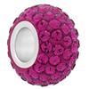 Large Hole Pave Bead with 7 mm wide Sterling Silver Core, Alora Crystals Fuchsia 12 mm