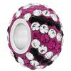 Large Hole Pave Bead with 7 mm wide Sterling Silver Core, Alora Crystals Fuchsia/Crystal/Jet 12 mm