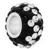 Large Hole Pave Bead with 7 mm wide Sterling Silver Core, Alora Crystals Jet/Crystal 12 mm