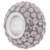Large Hole Pave Bead with 7 mm wide Sterling Silver Core, Alora Crystals Light Amethyst 12 mm