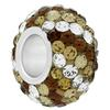 Large Hole Pave Bead with 7 mm wide Sterling Silver Core, Alora Crystals Light Browns w/ Crystal 12 mm