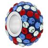 Large Hole Pave Bead with 7 mm wide Sterling Silver Core, Alora Crystals  USA (Sapphire/Crystal/Light Siam) 12 mm