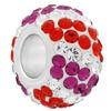 Large Hole Pave Bead with 7 mm wide Sterling Silver Core, Alora Crystals Fuchsia/Hyacinth/Crystal 12 mm