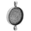 Antique Silver Double-Sided Round Bezel Pendant 29mm Diameter