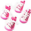 Dog Shoes, Size 4, Pink & White with White Shoestrings