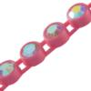 Machine Cut Rhinestone Plastic Banding 1 Row PP26 Crystal AB/Dark Pink