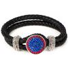 1-Snap Black Leather Bracelet - Sapphire/Light Siam (Periwinkle/Red)