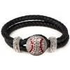 Baseball-1-Snap Black Leather Bracelet - Crystal/Light Siam (Crystal/Red)