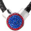 1-Snap Black Leather Necklace - Sapphire/Light Siam (Periwinkle/Red)