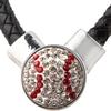 Baseball-1-Snap Black Leather Necklace - Crystal/Light Siam (Crystal/Red)