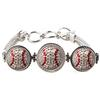 Baseball 3-Snap Metal Bracelet - Crystal/Light Siam (Crystal/Red)