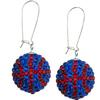 Game Time Bling Basketball Earrings - Sapphire/Light Siam - Sold by the Pair