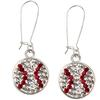 Game Time Bling Baseball Dangle Earrings - Crystal/Light Siam - Sold by the Pair