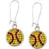 Game Time Bling Softball Dangle Earrings - Citrine/Light Siam - Sold by the Pair