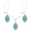 Game Time Bling Mini Football Necklace & Earring Gift Set - Aquamarine/Crystal