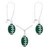 Game Time Bling Mini Football Necklace & Earring Gift Set - Emerald/Crystal