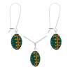 Game Time Bling Mini Football Necklace & Earring Gift Set - Emerald/Topaz