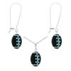 Game Time Bling Mini Football Necklace & Earring Gift Set - Jet/Crystal/Aquamarine