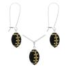 Game Time Bling Mini Football Necklace & Earring Gift Set - Jet/Light Colorado Topaz