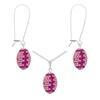 Game Time Bling Mini Football Necklace & Earring Gift Set - Light Rose/Fuchsia