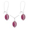 Game Time Bling Mini Football Necklace & Earring Gift Set - Rose/Crystal