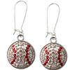 Baseball Snap Earrings - Crystal/Light Siam (Crystal/Red) - Sold by the Pair