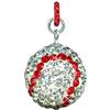 Game Time Bling 20mm Baseball w/ Red Ring - Crystal/Light Siam