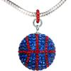 Game Time Bling Large Basketball Necklace - Sapphire/Light Siam